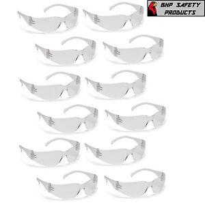 SAFETY GLASSES CLEAR LENS SPORT WORK EYEWEAR PYRAMEX INTRUDER S4110S 12 PAIR