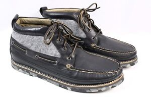 SPERRY Top-Sider x Barneys Black Gray Leather Camo Boat Chukka Ankle ... 3478b67cd652