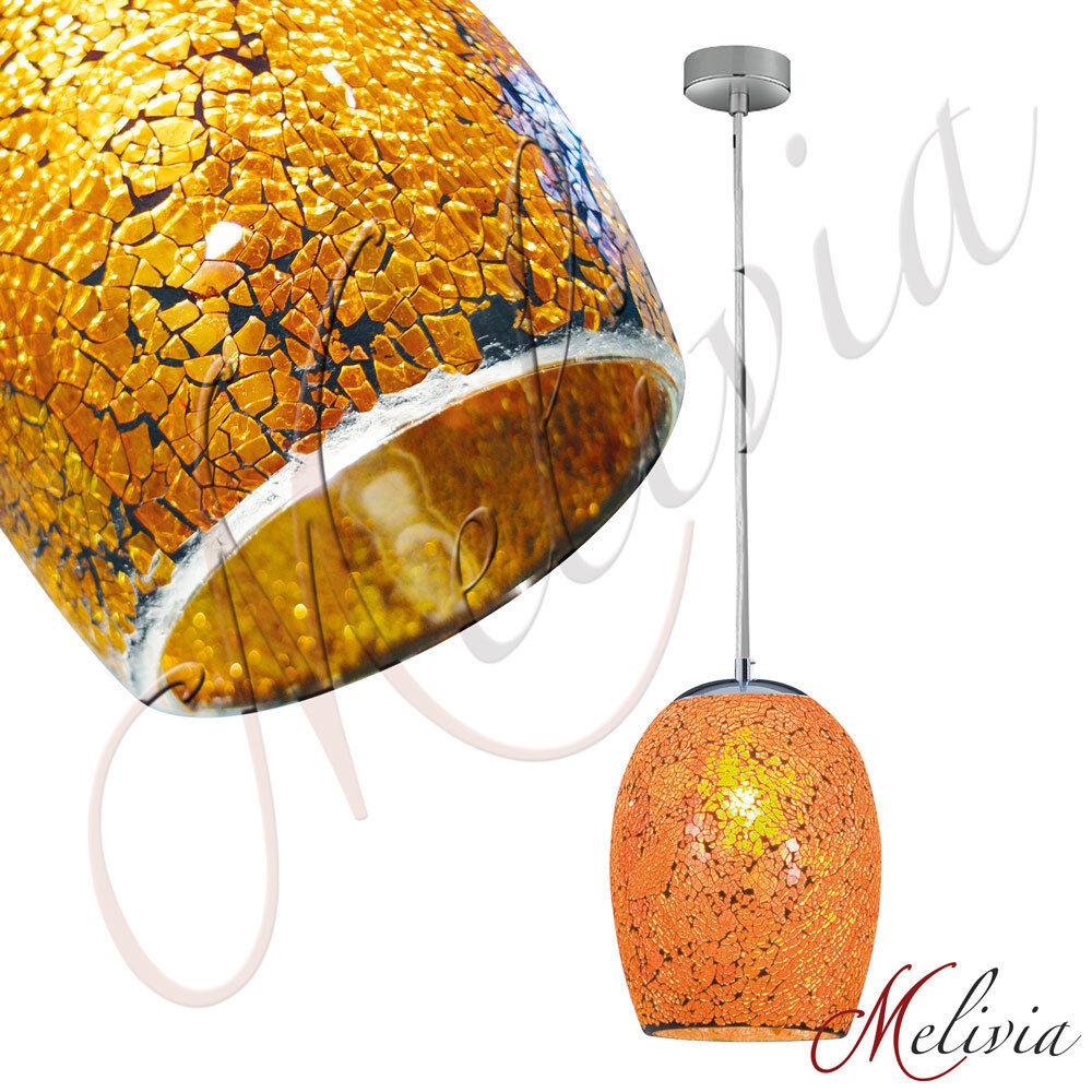 Lampada a sospensione arancione oro Ø18cm Mosaico Vetro luce plafoniera