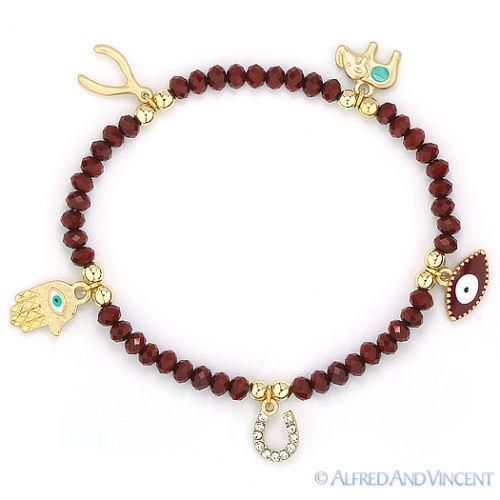 Evil Eye Turkish Nazar Greek Wishbone Elephant Hamsa /& Horseshoe Charm Bracelet