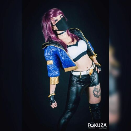 LOL League of Legends KDA Akali Cosplay Costume Baseball Coat Outfit Full Set