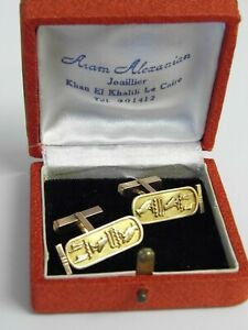 A-SUPERB-VINTAGE-PAIR-OF-18ct-SOLID-GOLD-EGYPTIAN-HIEROGLYPHS-CUFFLINKS-10-4g