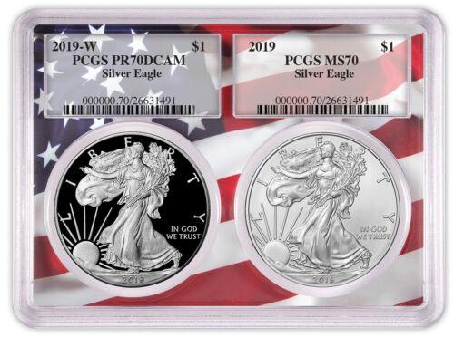 Flag Frame 2019 1oz Silver Eagle Two Coin Set PCGS PR70 MS70