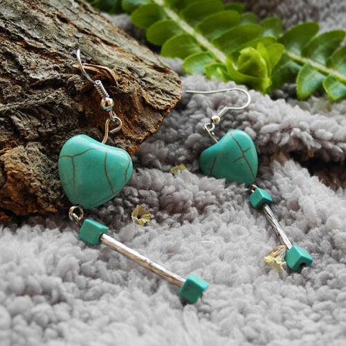 Boucles d/'oreilles Stye Tibétain et Turquoise reconstituée