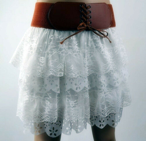 Women's New Fashion White Pleated Floral Chiffon Cute Mini Skirt Size S-XL