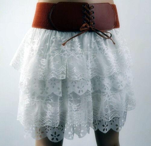 Women's New Fashion White Pleated Floral Chiffon Cute Mini Skirt Size S-XL