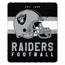"NFL Oakland Raiders Singular Design Large Soft Fleece Throw Blanket 50"" X 60"""