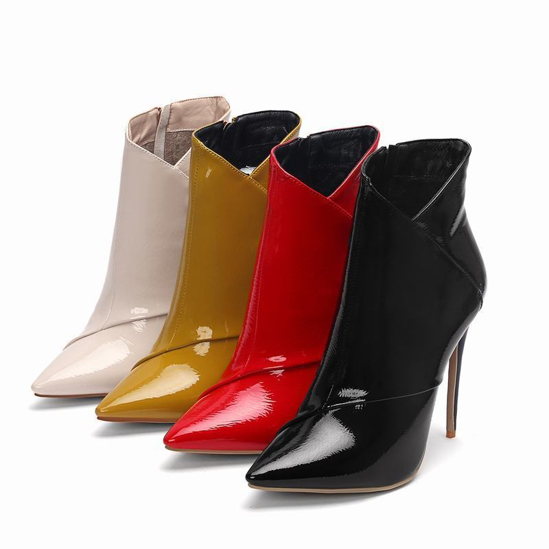 Sexy Womens Pointed Toe Stiletto Heels Patent Leather Zipper Chelsea Ankle Boots