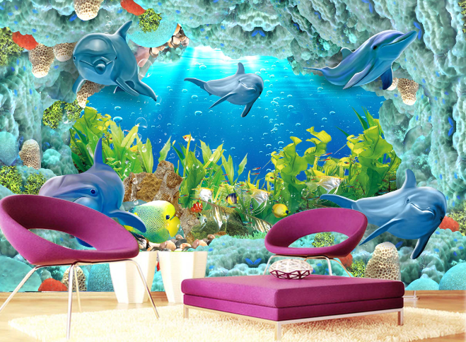3D Reef Seaweed Dolphin 546 Paper Wall Print Wall Decal Wall Deco Indoor Murals