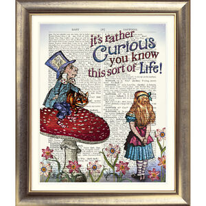 ART-PRINT-ON-DICTIONARY-ANTIQUE-BOOK-PAGE-Alice-in-Wonderland-VINTAGE-Quote-Old