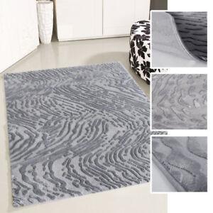 Details zu Teppich Kurzflor Grau Wohnzimmer Abstrakt Modern Designer  Teppiche 3D-Struktur