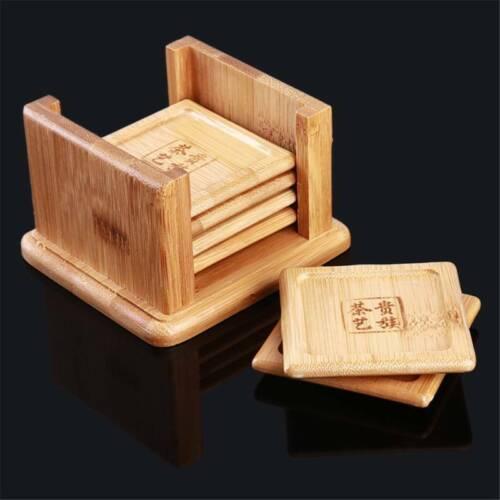 Tea Holder Bamboo Mat Cup Mat Drink 6pcs Home Use Natural Wood Modern SH