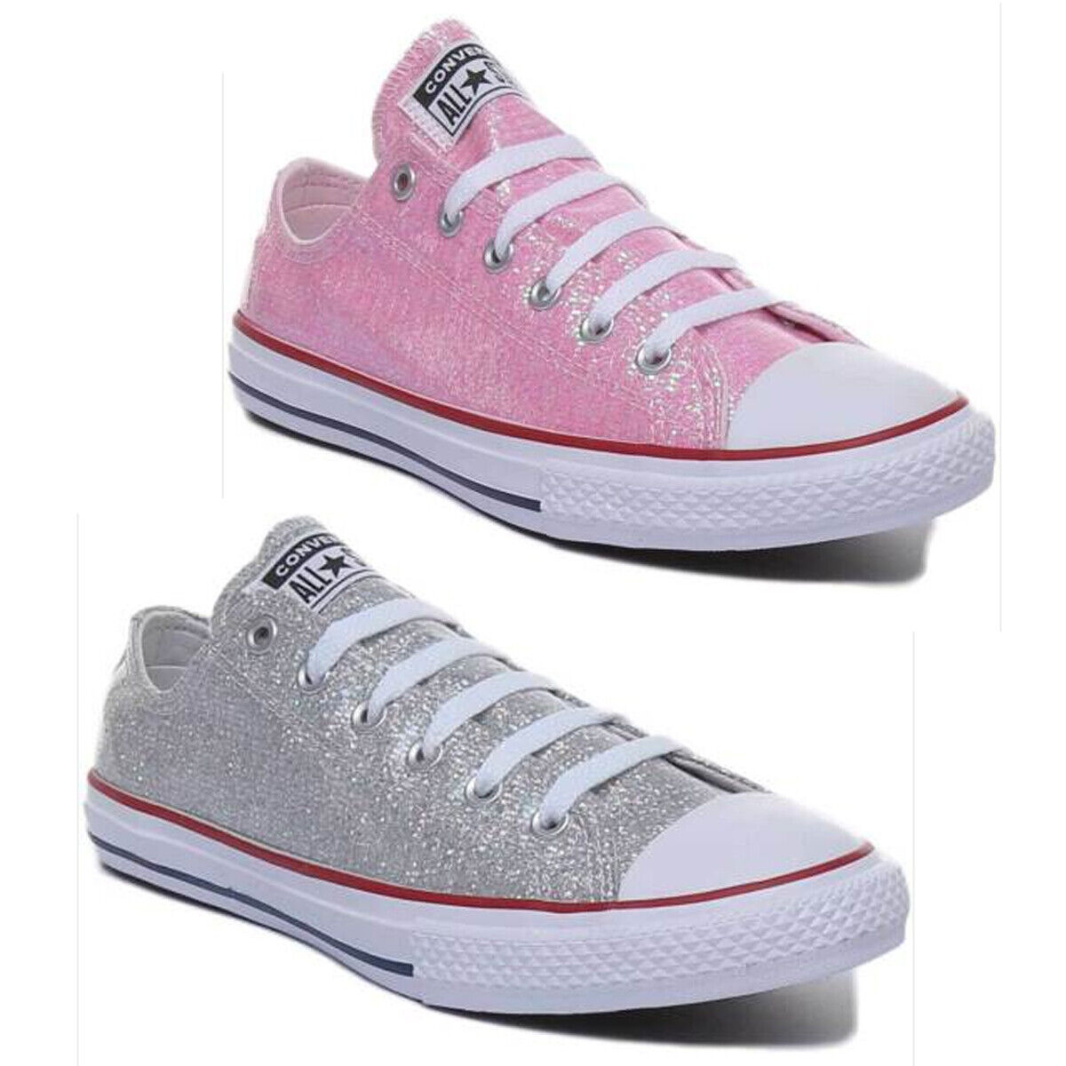 Converse 663627 C ect Sparkle Lowlace Youth Trainer argent Toile Taille UK 3 - 6