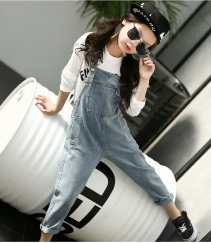 Styilsh Girls Denim Jeans Overalls Kids Casual Pants Children Gift Cool Rompers