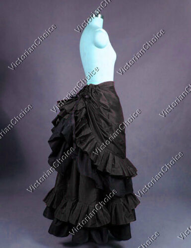 Victorian Costume Dresses & Skirts for Sale    Victorian Edwardian Black Bustle Satin Skirt Steampunk Punk Theater Costume K034  AT vintagedancer.com