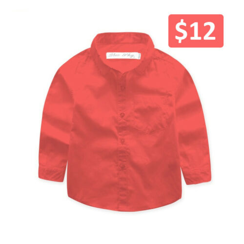 Boys Baby Formal Long Sleeve Shirt Cotton Red Blue Brown Khaki Pink Age 0 to 16