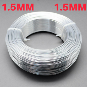 1.5mm Aluminium Craft Florist Wire Jewellery Making Silver 6m lengths