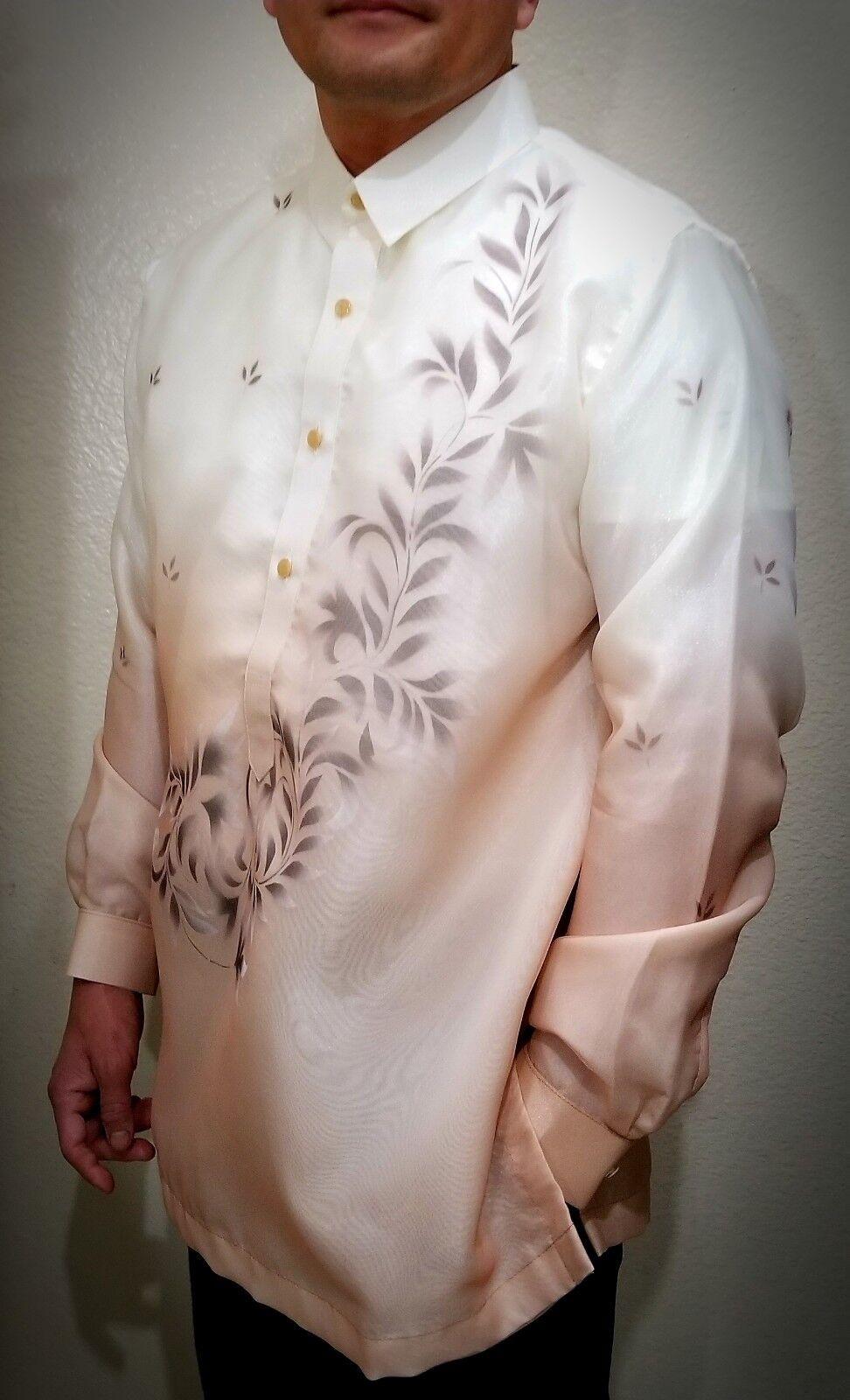BARONG TAGALOG Filipino National Costume FILIPINIANA Filipino Dress -Light braun