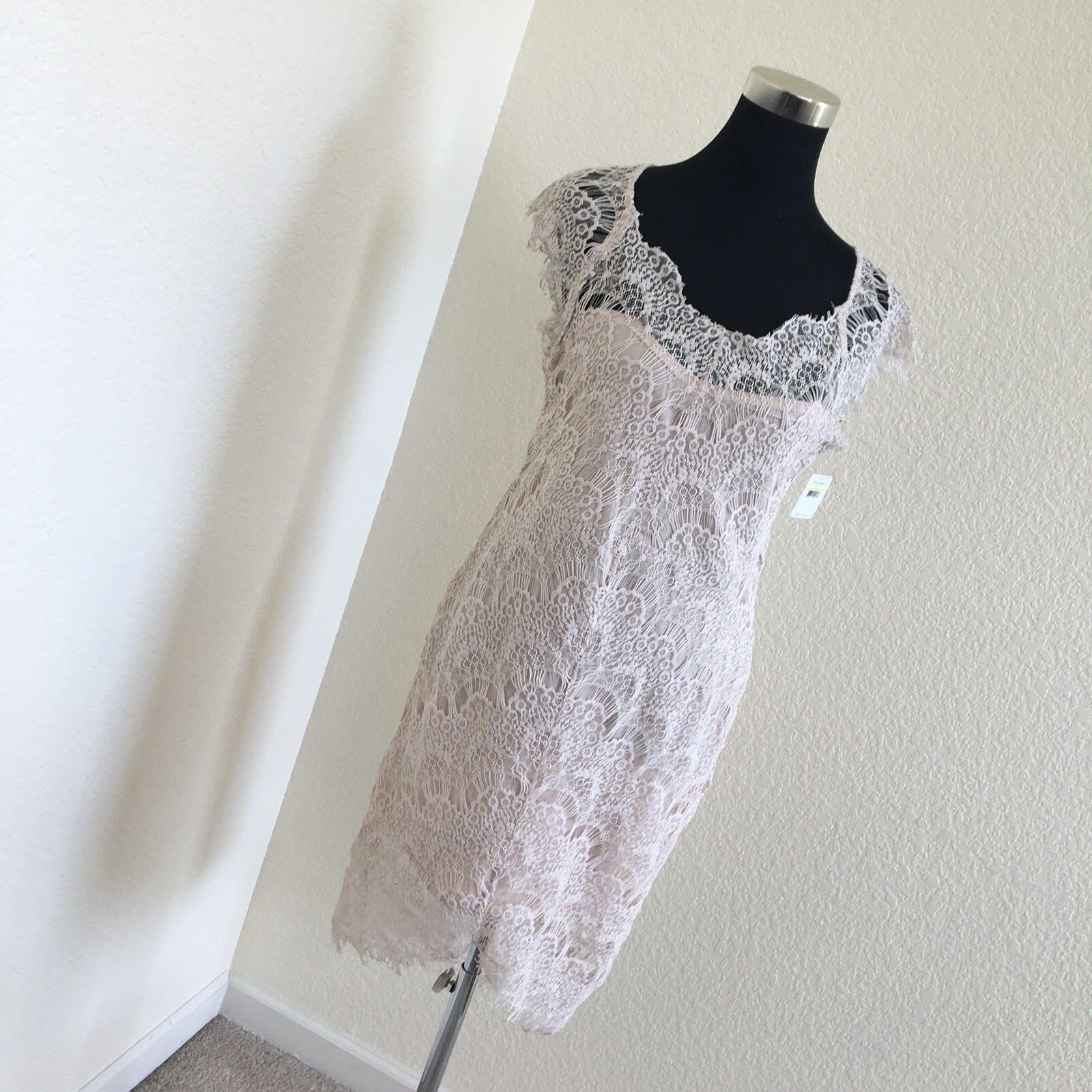 Intimately Free People Peek A Boo Slip Lace Bodycon Beige Nude Dress M MSRP