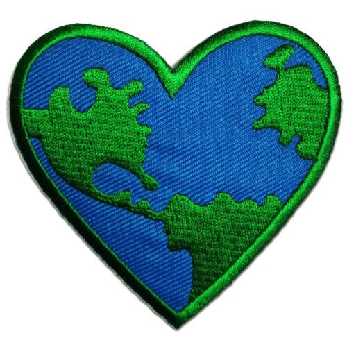 7,2 x 7,2 cm Peace on earth Patches Aufbügeln Aufnäher // Bügelbild blau