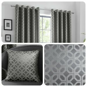 Curtina-ORIENTAL-SQUARES-Charcoal-Metallic-Jacquard-Cushions-and-Curtains