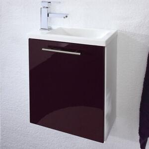 Details zu Waschtisch Unterschrank mit Waschbecken brombeer Gäste WC  Badezimmer Bad-Möbel
