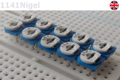 TRIMMER Del Potenziometro Resistore Variabile 500R a 1M 10 VALORI UK Venditore