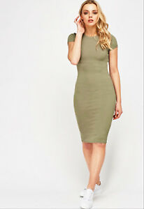 Womens-Olive-Green-Bodycon-Stretch-Short-Sleeve-Casual-Dress-UK-Sizes-8-10-12