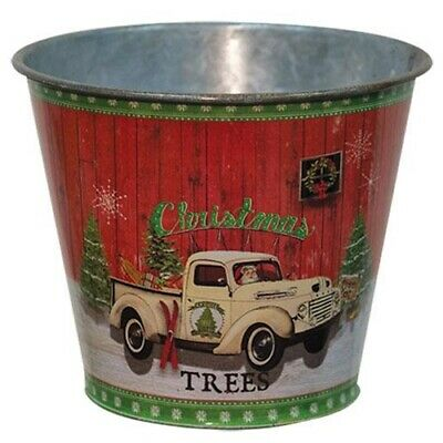 New Primitive Country Christmas Green ANTIQUE SLEIGH RIDES BOWL Dish Bucket
