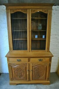 Golden Oak Glazed Dresser Bookcase