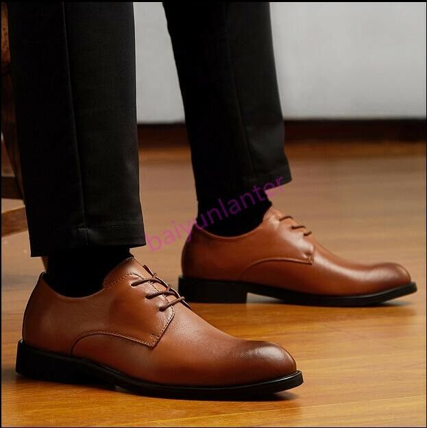 Mens Real Leather Lace Up Round Toe shoes Lace Up Formal Dress Brogue Sz 38-48