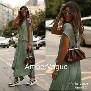 Zara-New-Green-Maxi-Long-Crease-Effect-Asymmetric-Dress-Size-S-M-L