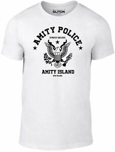 Amity Police Men's T-shirt - Jaws Shark Film 80's Retro Cult Gift Funny TV