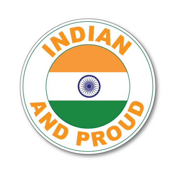 2 X Indian And Proud- India Flag Car Van Vinyl Self Adhesive Stickers