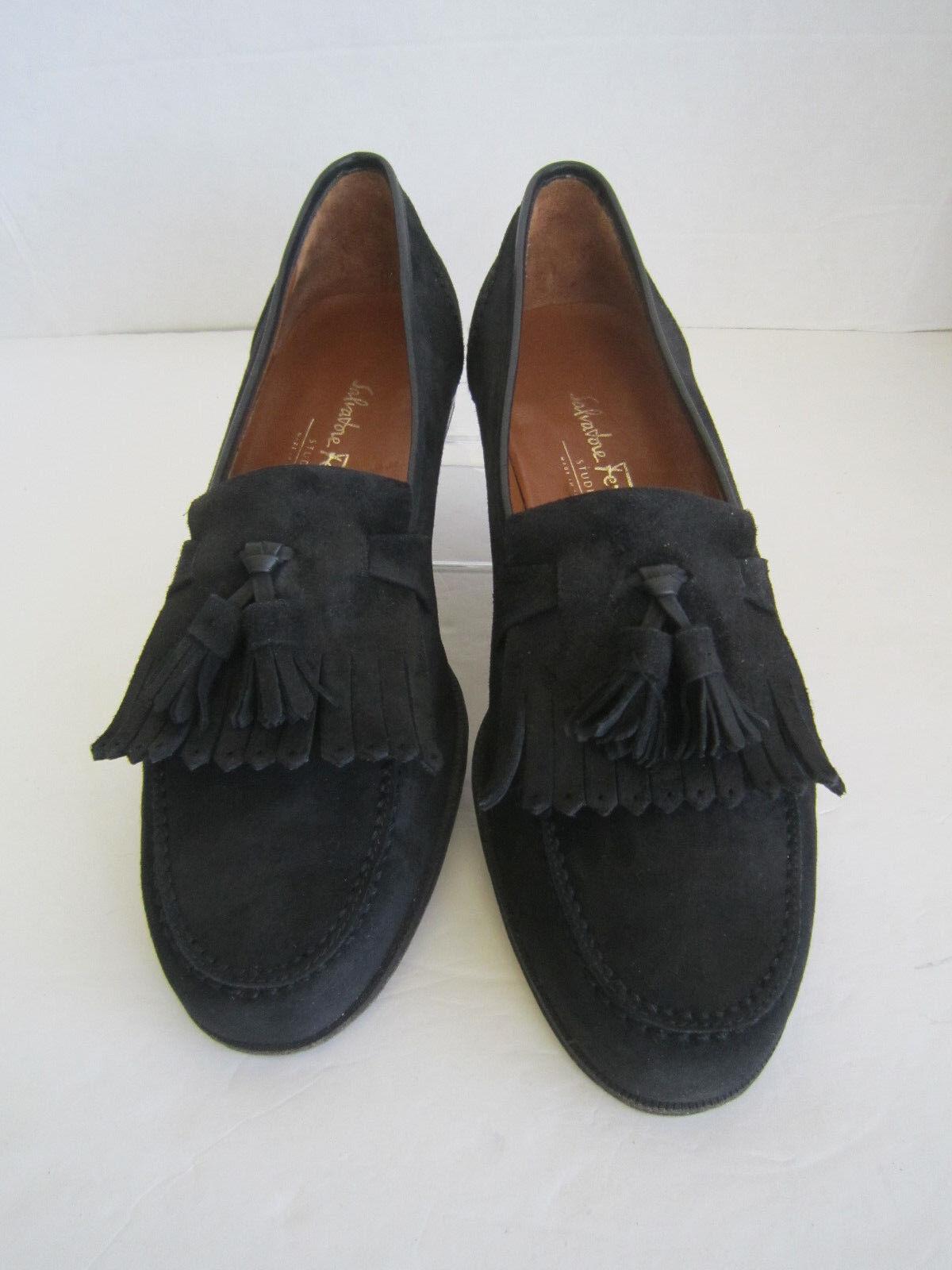 Salvatore Ferragamo Italia Negro Gamuza Borla Mocasines Zapatos Talla 9 D