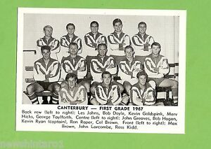 #D166. 1967 DAILY MIRROR CARD - CANTERBURY TEAM PICTURE