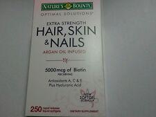 NEW Nature's Bounty Hair Skin & Nails 5000mcg Biotin 250 Softgels-Extra Strength