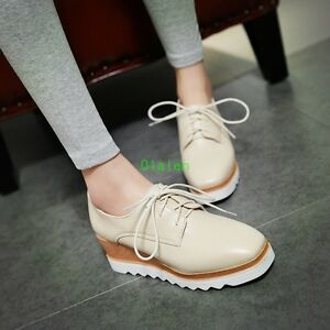 f9d601c9 2017 Womens Fashion Oxfords Lace Up Platform Square Toe Wedge Heel ...