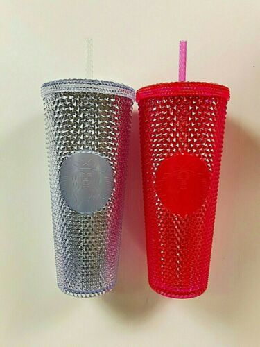Starbucks 2019 Holiday Studded Tumbler Bling Platinum Silver OR Neon Pink 24 oz