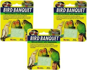 Zoo Med Bird Banquet Mineral Block Vegetable Seed Formula Food 1 oz. 3-Pack