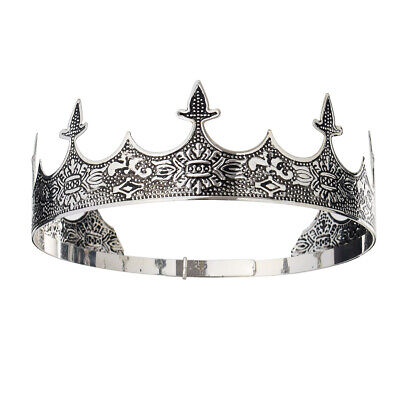 PRETYZOOM King Crown Medieva 3D PU Foam Antique Silver King Crown Party Headwear Costume Crown Party Headband for Banquet Festival Halloween