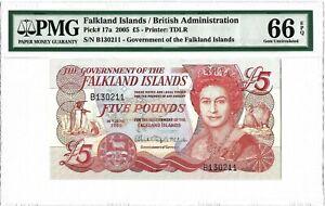FALKLAND-ISLANDS-5-Pounds-2005-PMG-66-EPQ-Gem-Unc-Uncirculated-QEII-P-17a