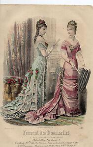 """3/ Gravure De Mode """" Journal Des Demoiselles """" 1878 Superbes Couleurs !"""