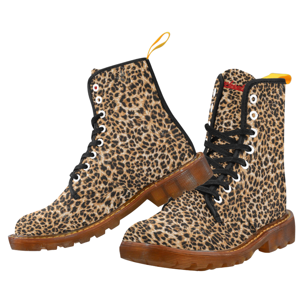 Rebooted Leopard Womens Martens Ankle Boots Combat Boots Lace Up