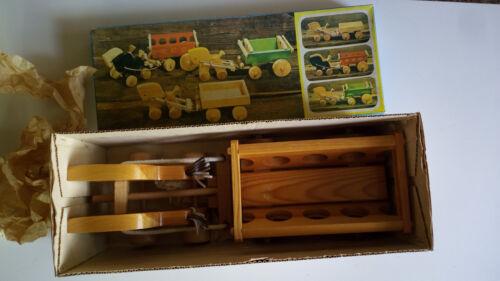 Vintage Großer Plaho Holz Leiterwagen mit Pferden für den Bauernhof Rarität# Neu Fahrzeuge