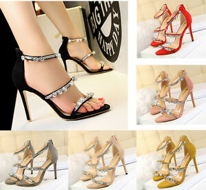 d16c8ed7b2aec8 Sexy Women Pearl Crystal Open Toe Shoes Sandals Stiletto Buckle ...
