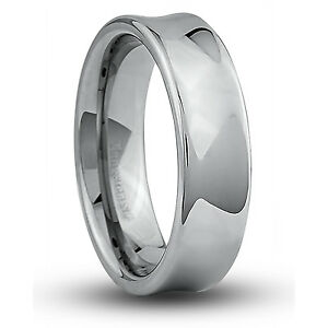 Men-039-s-7mm-Wide-Tungsten-Carbide-Band-Comfort-Fit-Ring-Concave-Shape-TCR026