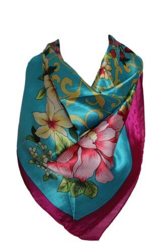 Wunderschön Blumenmuster Seide Satin Style Bandana-Schal Quadrat