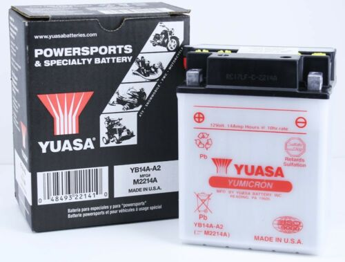 Yuasa YB14A-A2 High Performance Conventional YuMicron 12 Volt Battery YB14AA2