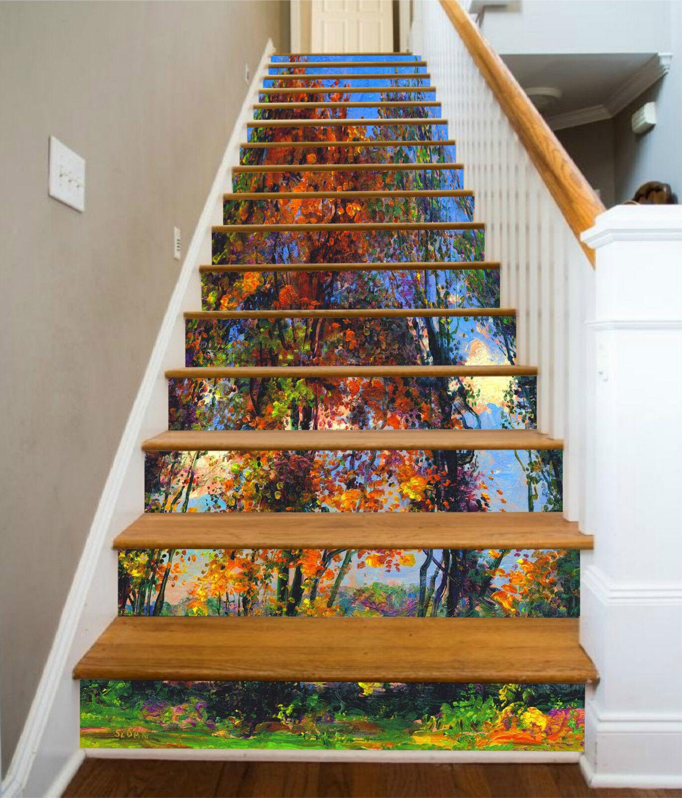 3D Farbe Baum 225 Stair Risers Dekoration Fototapete Vinyl Aufkleber Tapete DE